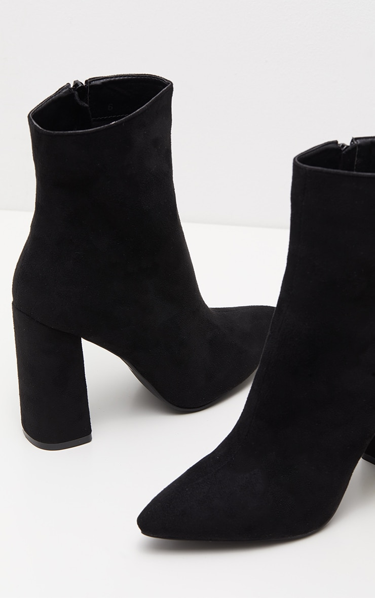 Black Faux Suede High Point Ankle Boot 4