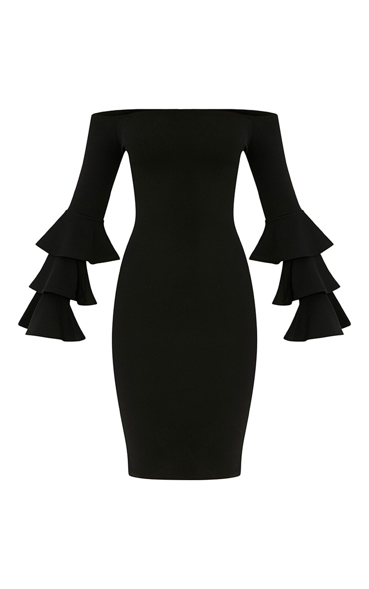Aniaa Black Bardot Ruffle Sleeve Midi Dress 3