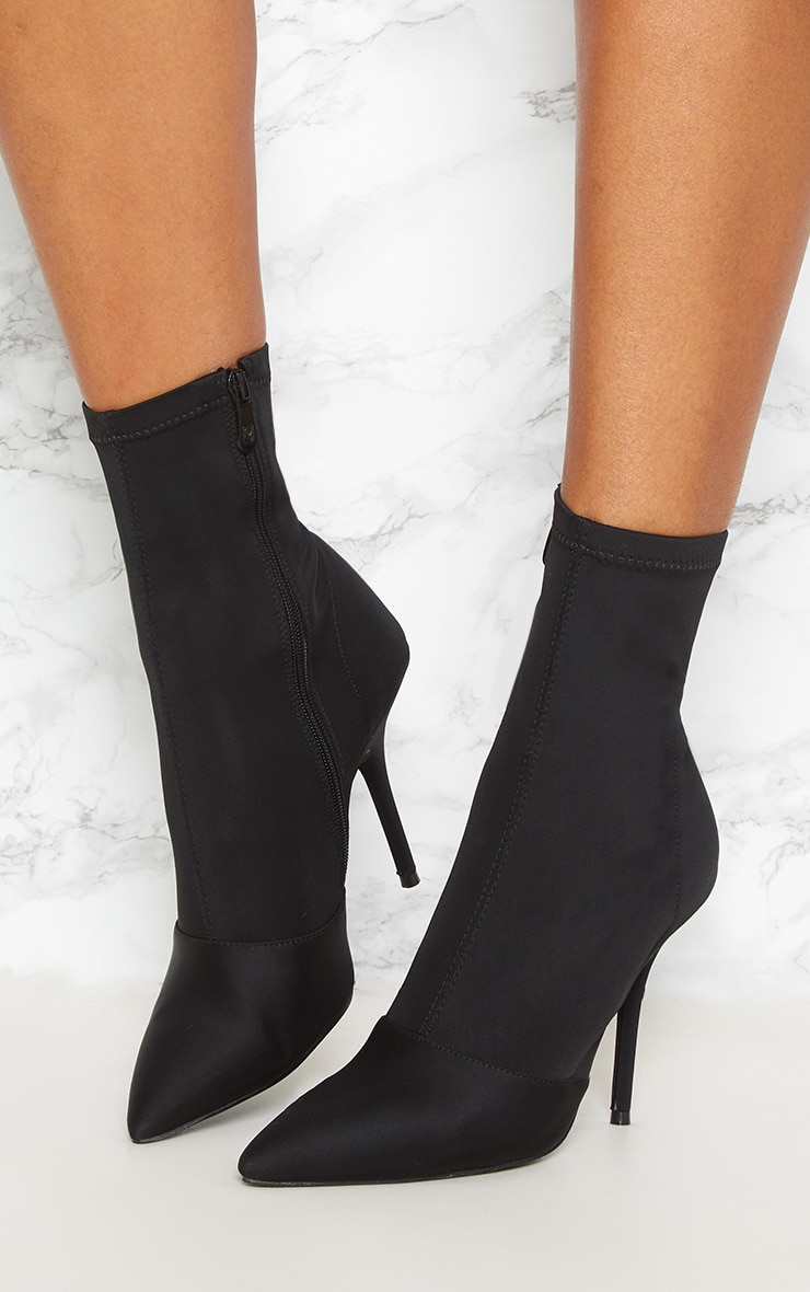 Black Neoprene Heeled Sock Boot 2