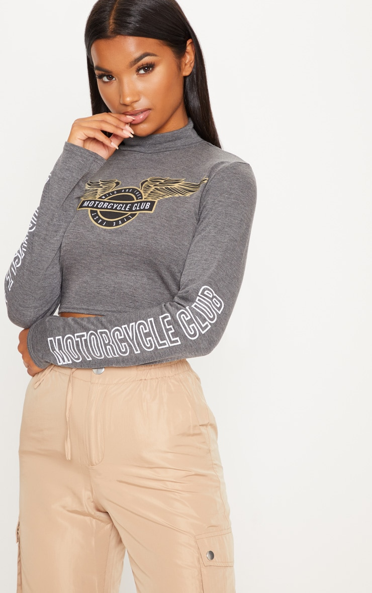 Grey Motorcycle High Neck Crop Top by Prettylittlething
