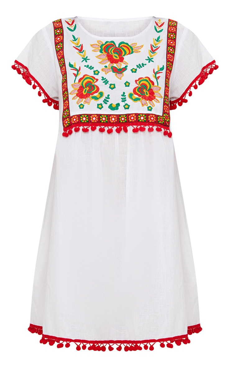 White Embroidered Pom Pom Trim Smock Dress 3