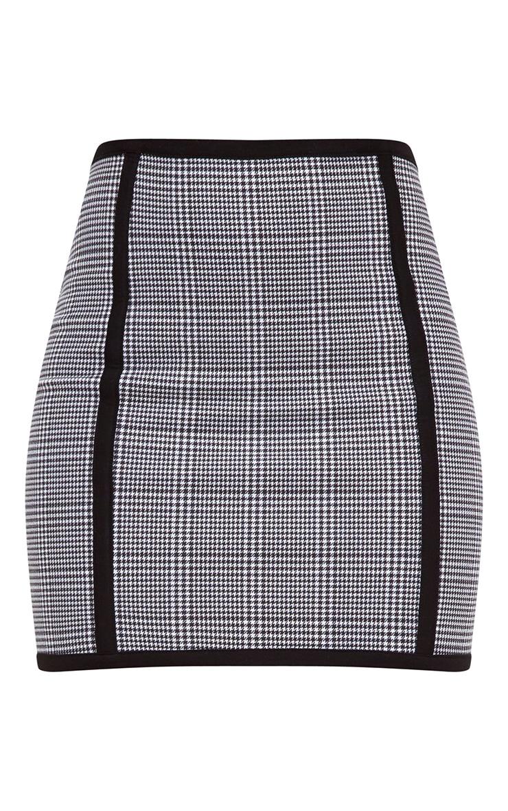 Black Dogtooth Front Seam Mini Skirt 3