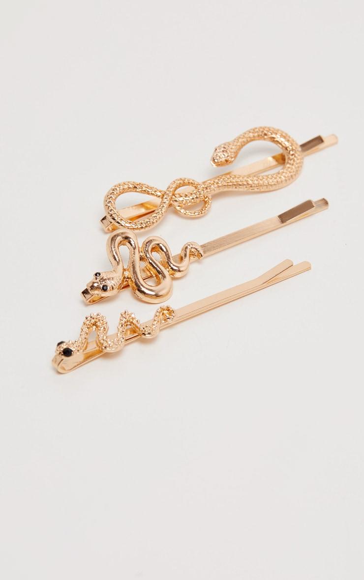 Gold Multi Snake Hair Slide 3 Pack 1
