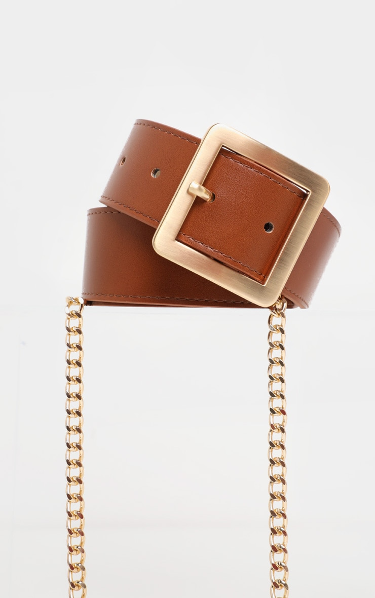 Tan Belt With Gold Chain 2