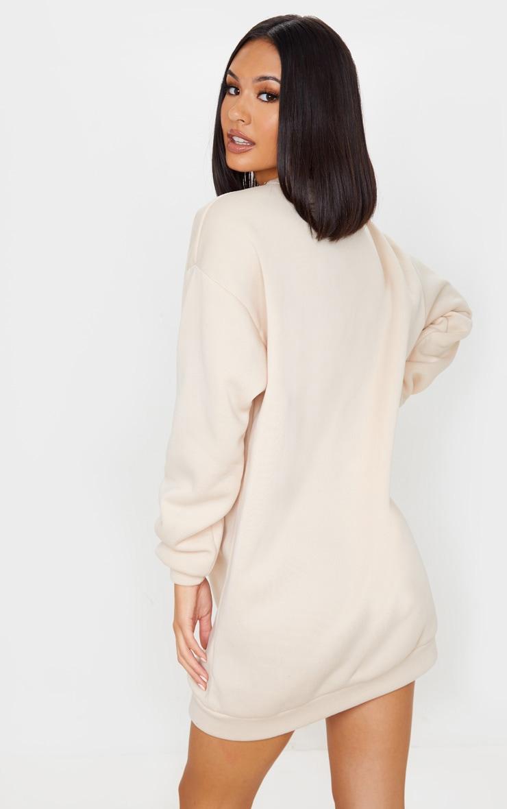 PRETTYLITTLETHING Sand Slogan Oversized Jumper Dress 2