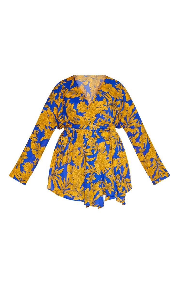 Plus Cobalt Tropical Print Woven Tie Waist Blouse  3