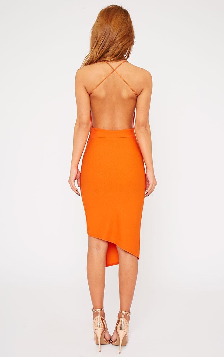Raye Orange Cross Back Asymmetric Dress 2