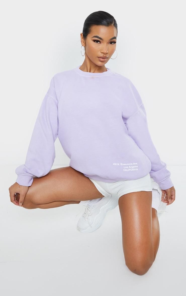 Lilac Los Angeles Small Print Slogan Washed Sweatshirt 3