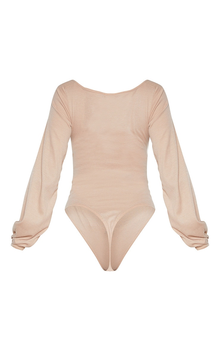 Tall Stone Ribbed Ruched Detail Long Sleeve Bodysuit 4