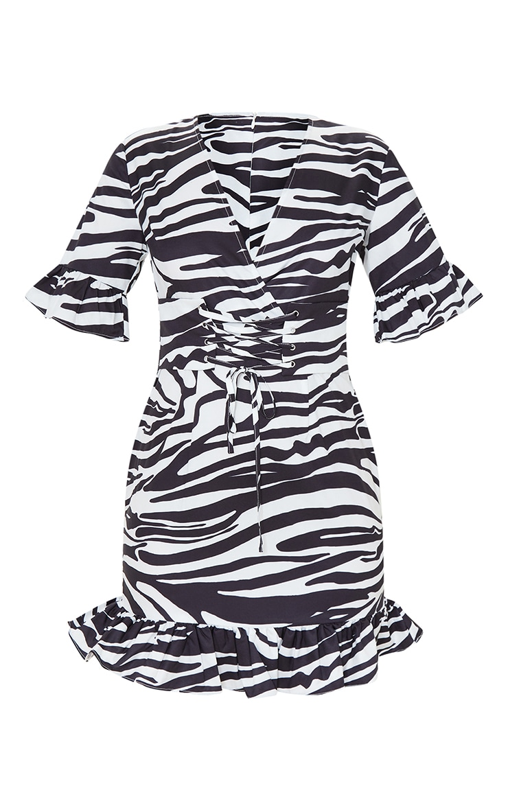 Black Zebra Print Corset Swing Dress 5