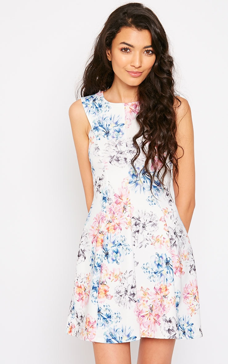 Scarlett Cream Floral Skater Dress 1