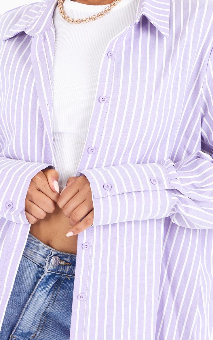Lilac Oversized Pinstripe Cuff Shirt 4