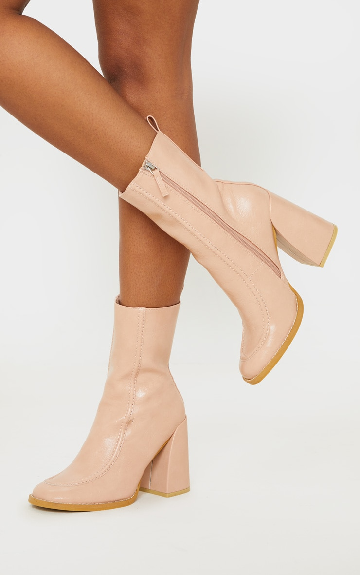 Nude Curved Toe Block Heel Ankle Boot 1