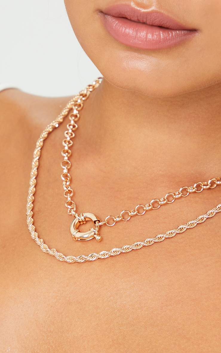 Gold Vintage Chain And T Bar Layering Necklace 2