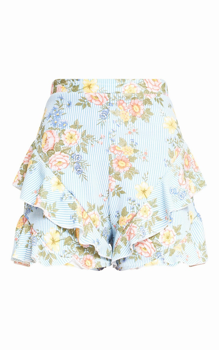 Light Blue Floral Stripe Frill Hem Shorts 3