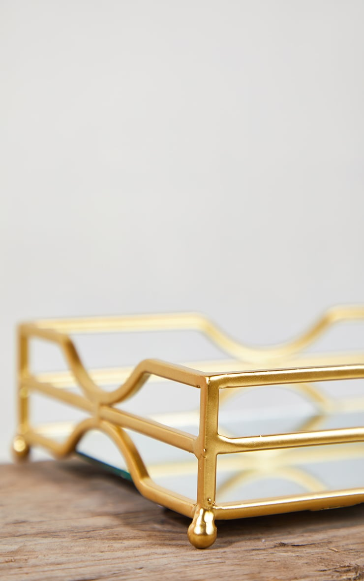 Gold Metal Tray With Mirror Base 5