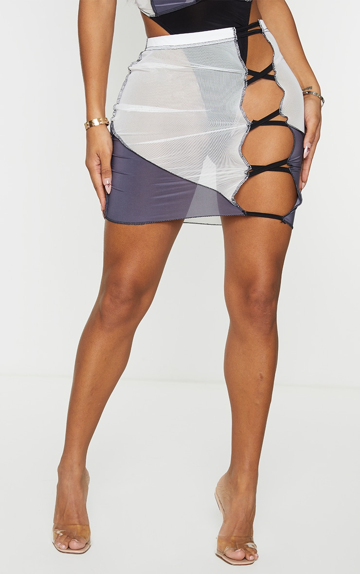 Shape Black Mesh Panel Detail Lace Up Side Bodycon Skirt 2