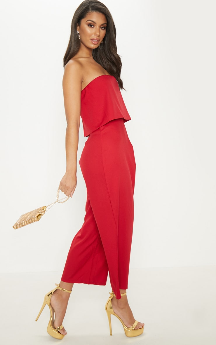 Red Bandeau Fold Detail Wide Leg Culotte Jumpsuit 4