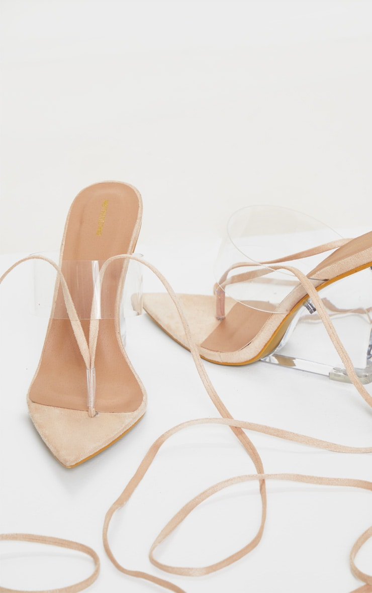 Nude Clear Wedge Point Toe Thong Sandals 3