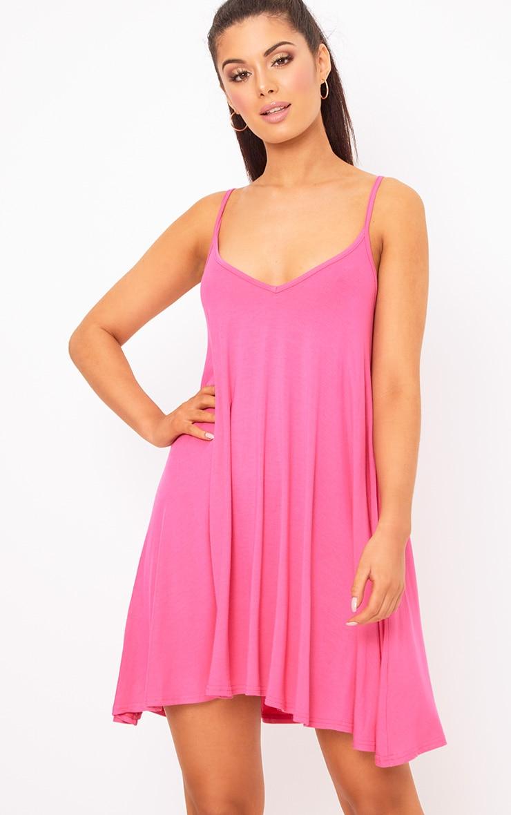 c9ff44508474f Hot Pink Strappy Swing Dress