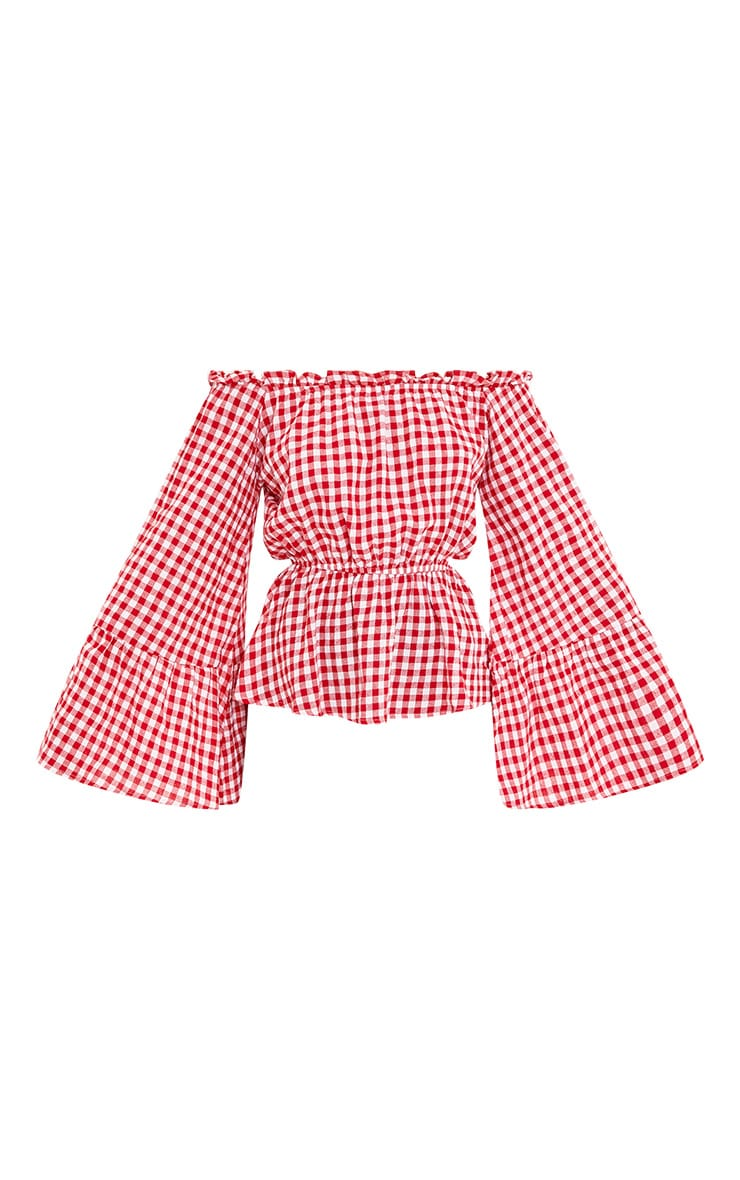 Nellie Red Gingham Check Bardot Top  3