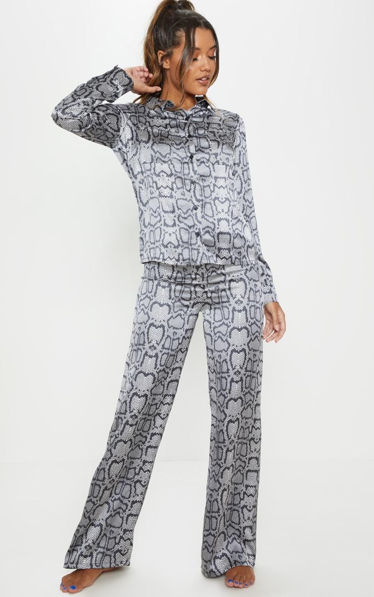 Monochrome Snake Print Long Sleeve Satin Pyjama Set 1