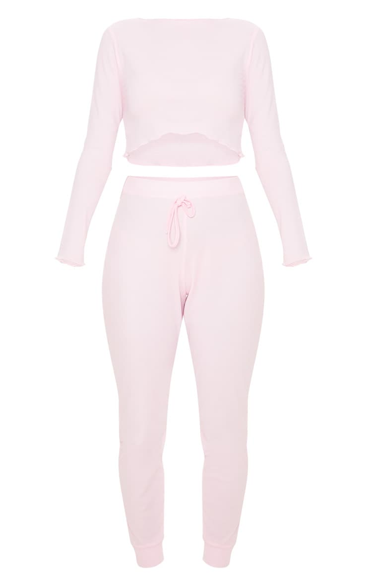 Baby Pink Ribbed Frill Edge Long Sleeve Legging PJ Set 3