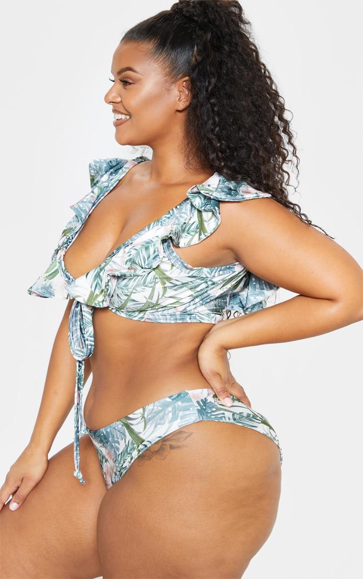 Plus Pale Khaki Leafy Cheeky Bum Bikini Bottom  2