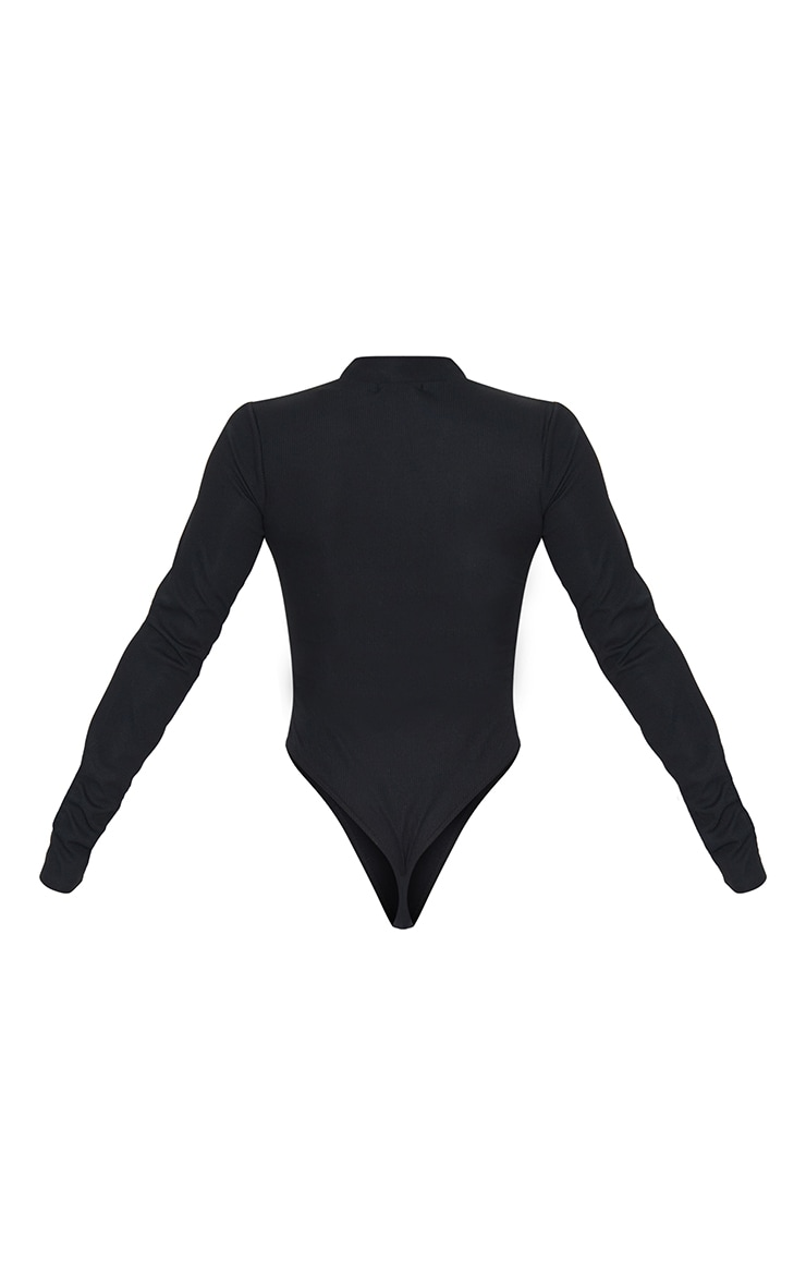 Black Rib Zip Up Long Sleeve Bodysuit 6