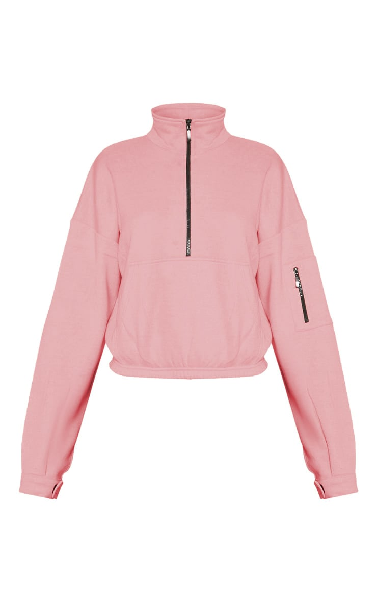 Dusty Pink Oversized Zip Front Sweater 3
