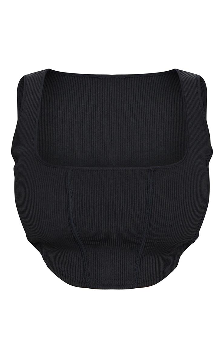 Shape Black Jumbo Rib Corset Detail Crop Top 5