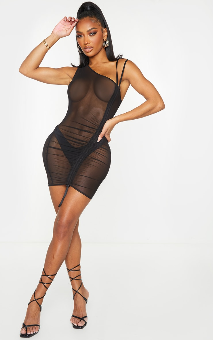 Shape Black Sheer Mesh Ruched Toggle Bodycon Dress 3