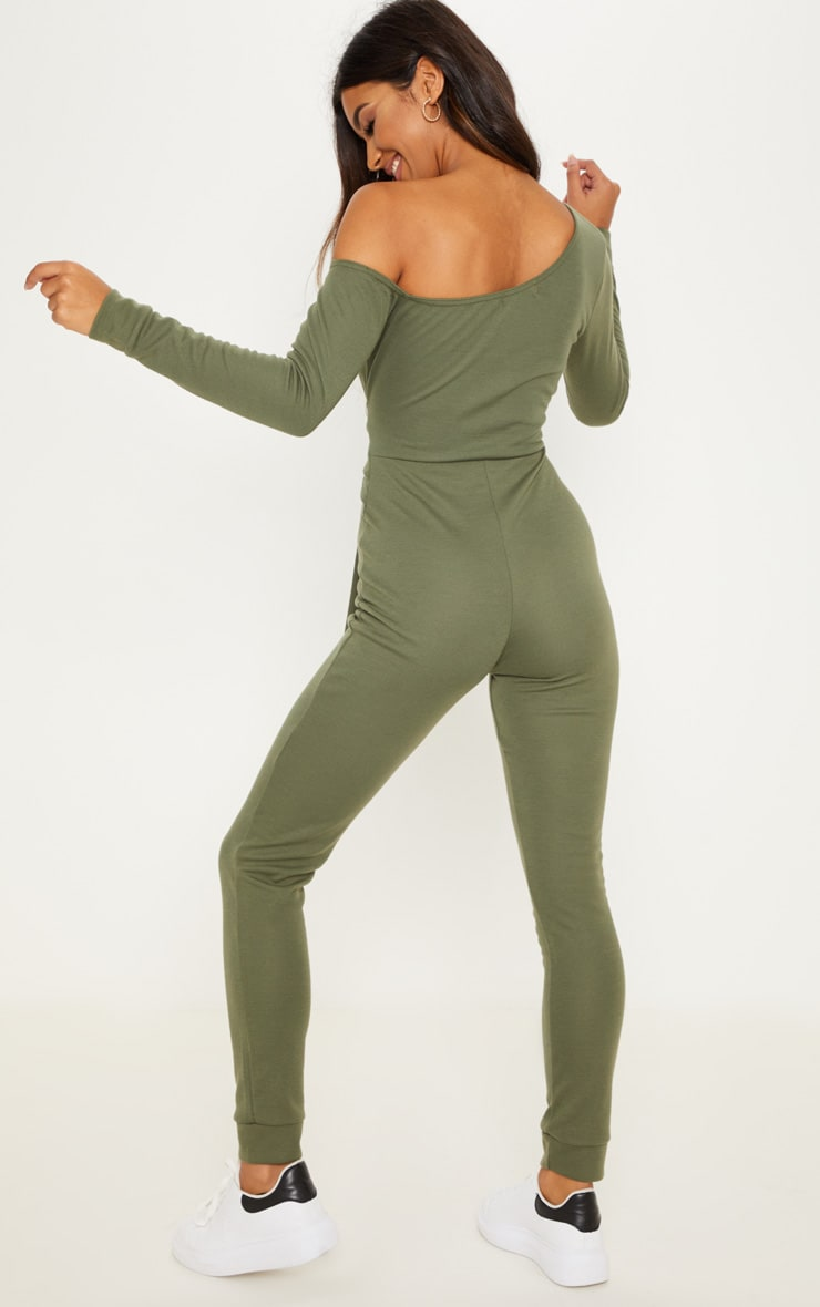 Khaki Sweat Jumpsuit 2