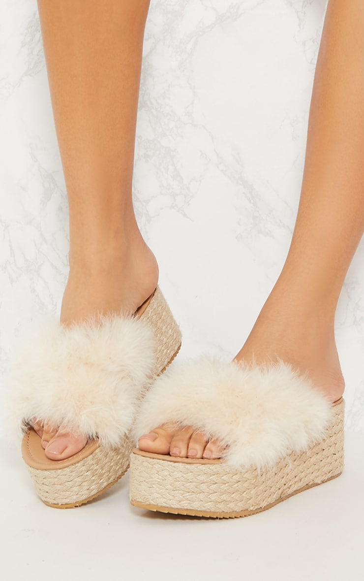 Nude Espadrille Feather Wedge 2