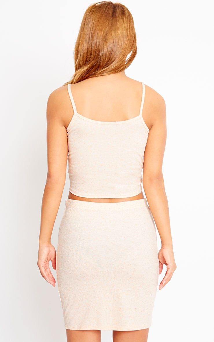 Honey Nude Ribbed Knot Crop Top 2