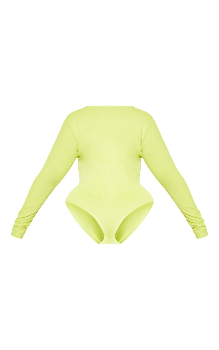 Plus Neon Lime Jersey Ruched Front Bodysuit  4