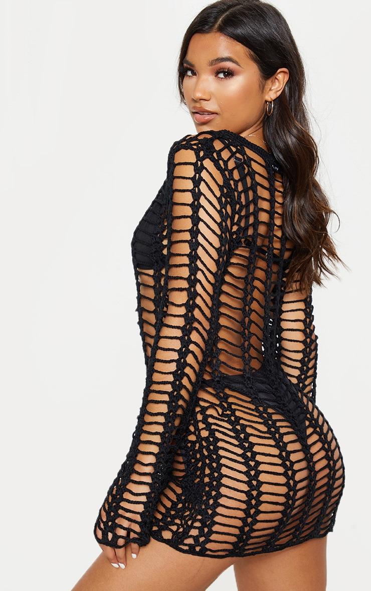 Black Crochet Ladder Detail Long Sleeve Dress 2