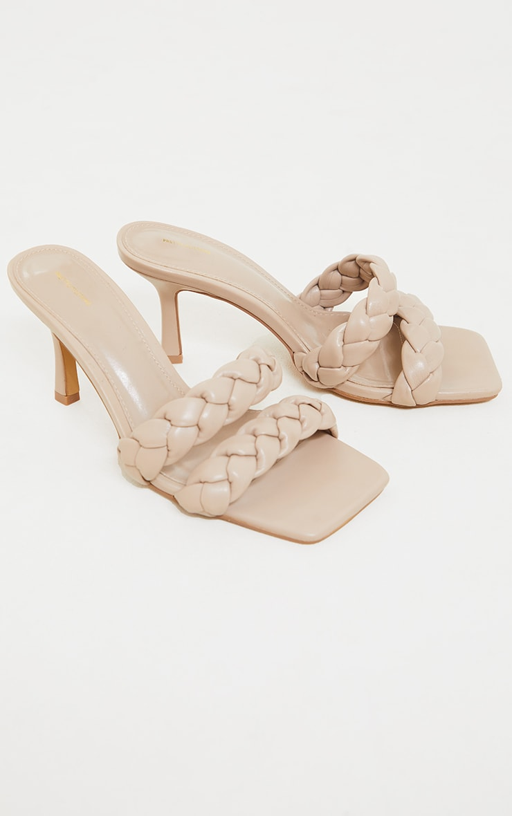 Nude Wide Fit PU Square Toe Double Plaited Low Heeled Mules 1