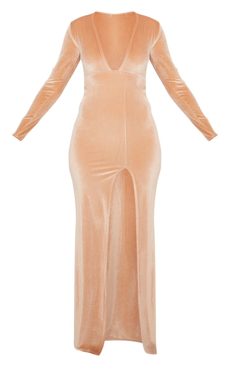 Champagne Velvet Plunge Split Leg Maxi Dress 3