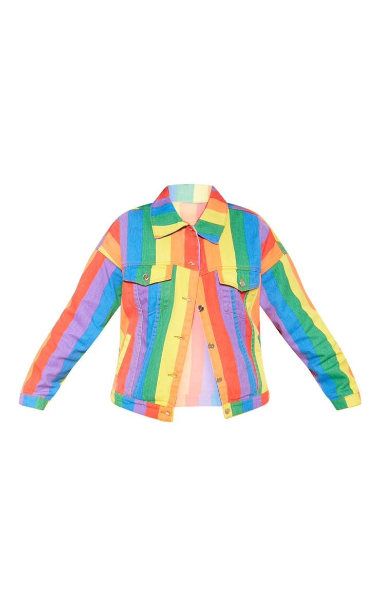 Plus Multi Stripe Denim Jacket  3