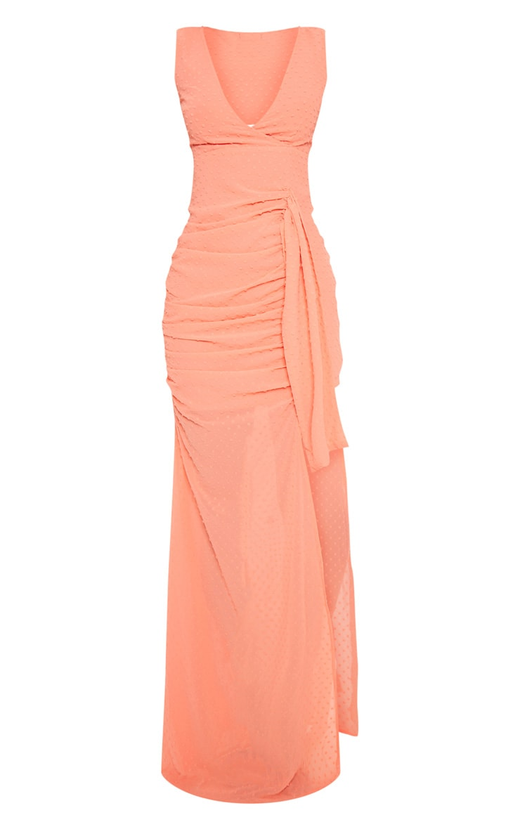 Coral Spotty Chiffon Drape Detail Bodycon Dress  3