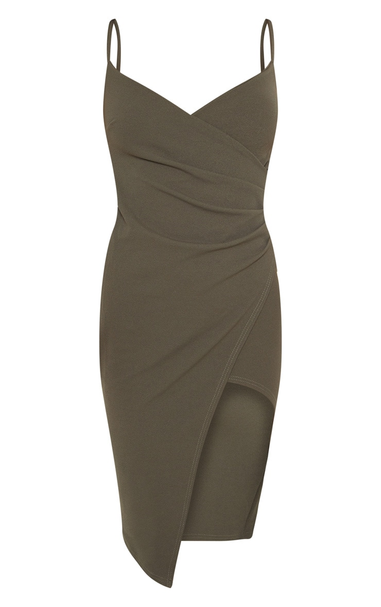 Lauriell Khaki Wrap Front Crepe Midi Dress 3