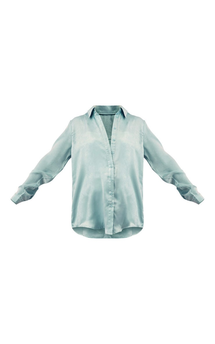 Mint Satin Oversized Shirt 3