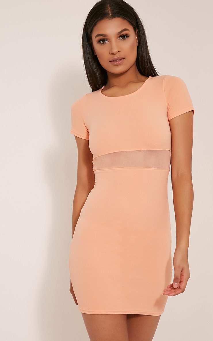 Kaylee Peach Short Sleeve Mesh Panel Bodycon Dress 1