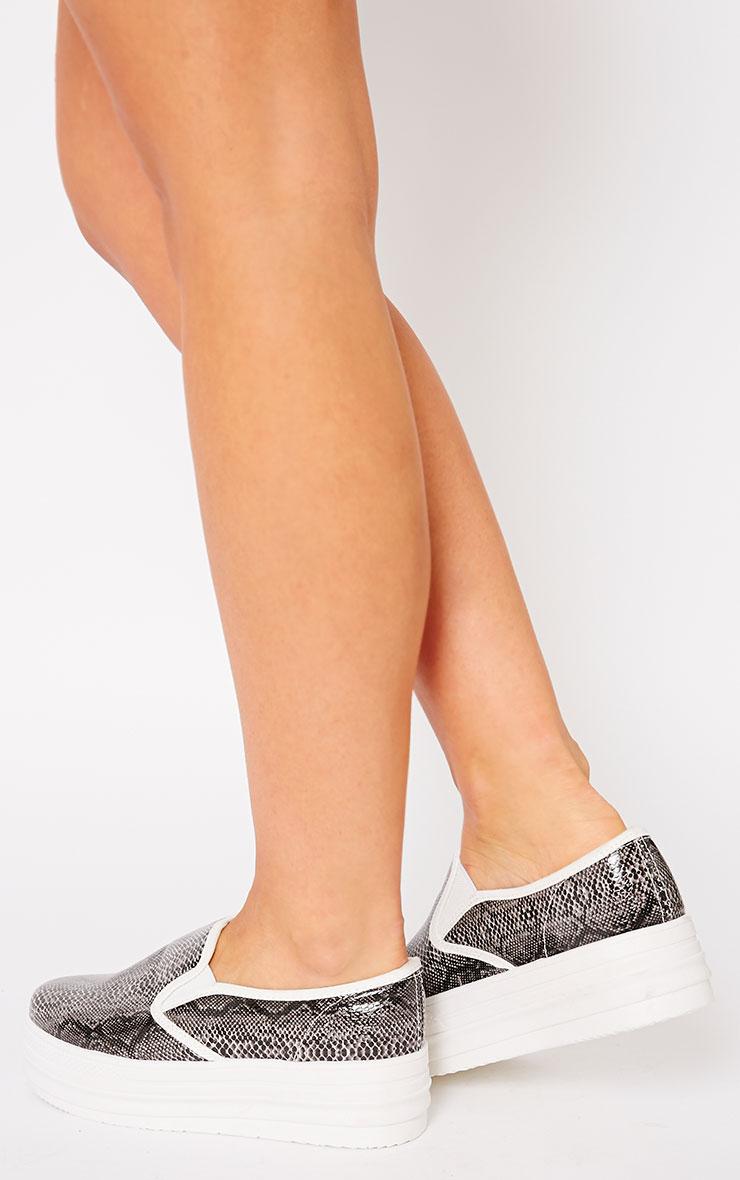 Katey Black Snake Flatform Skater Shoes 5