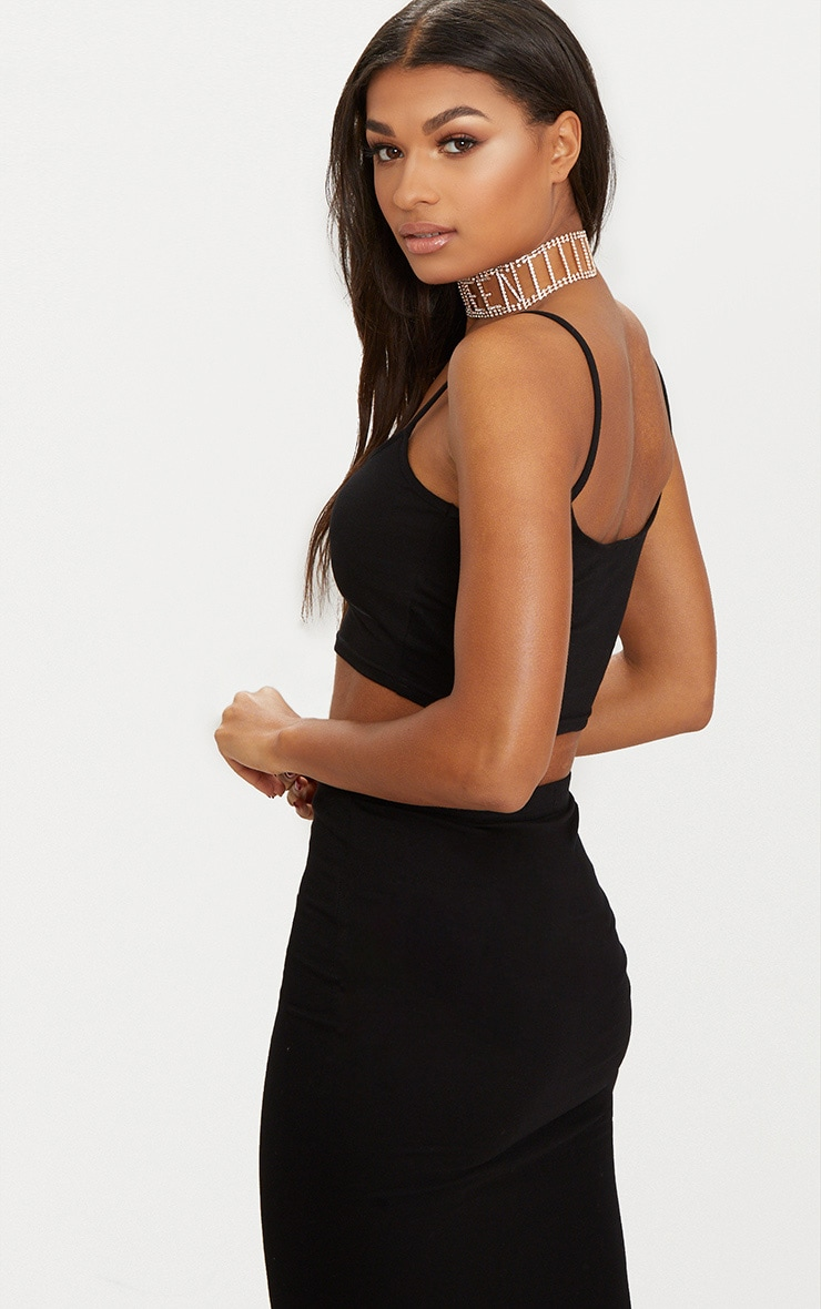 Black Jersey Strappy Crop Top 2