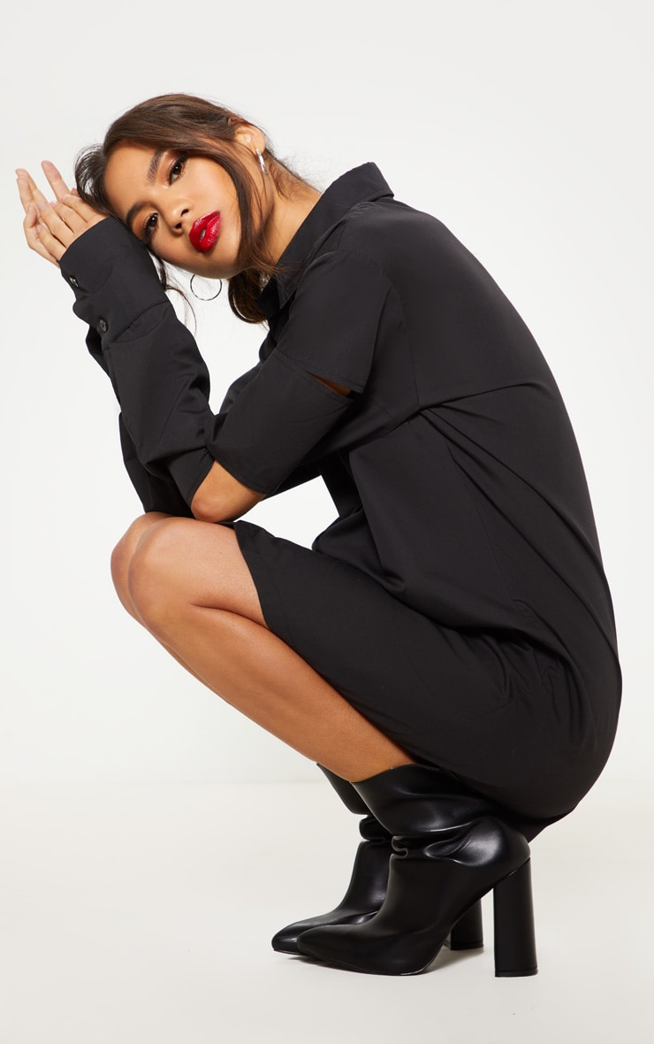 Black Split Sleeve Oversized Shirt Dress  4