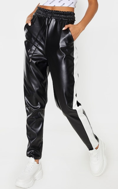 Black Faux Leather Side Stripe Jogger