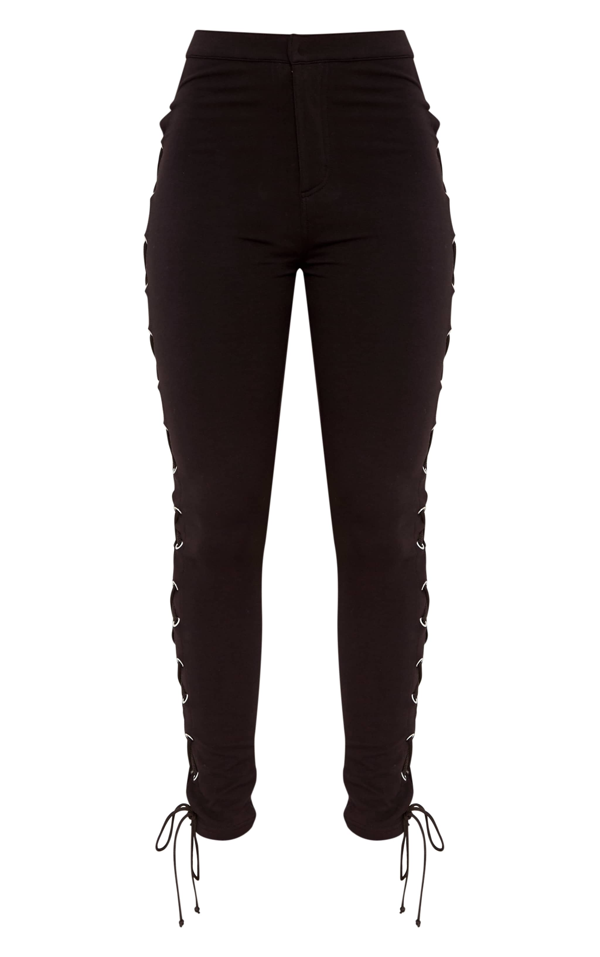 Lulu Black Side Lace Up Skinny Pants 3