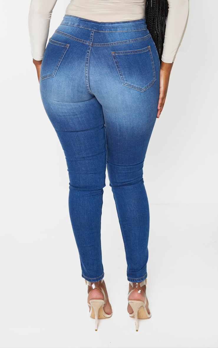 Shape Dark Wash Button Front High Waist Skinny Jeans 4